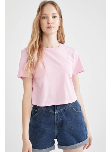 DeFacto Regular Fit Crop Kısa Kol T-shirt Pembe